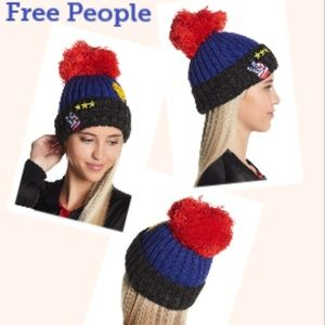 Free People Happy Place Patchwork Pompom Beanie